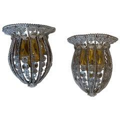 Wonderful Maison Bagues Crystal Beaded Flower Basket Pair Sconces