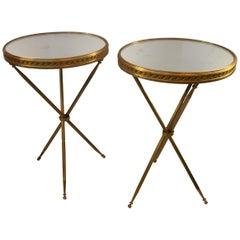 Wonderful Maison Baguès Gilt Bronze Mirror Top Hollywood Regency Pair Tables