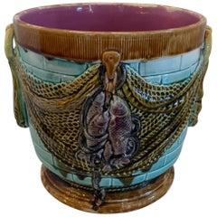 Wonderful Majolica Jardinière Centerpiece Bowl Cache Pot Planter Fish Accents