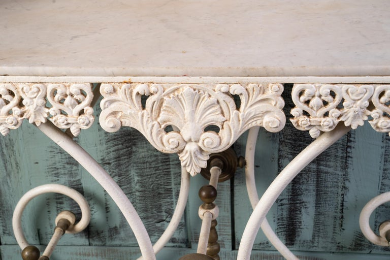 Hand-Crafted Wonderful Marble and Iron Bakers Table