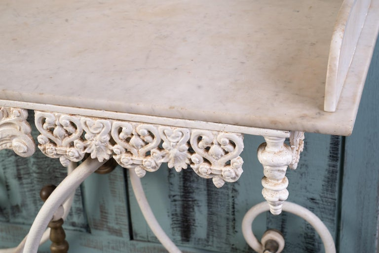 Wonderful Marble and Iron Bakers Table In Good Condition In New Orleans, LA