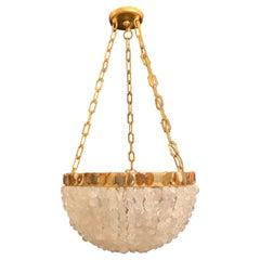 Wonderful Marjorie Skouras Aleka Rock Quartz Crystal Basket Gold Gilt Chandelier