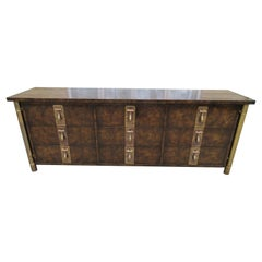 Wonderful Mastercraft Burled Walnut and Brass Credenza Hollywood Regency