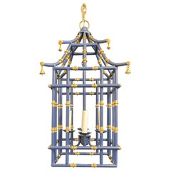 Wonderful Medium Navy Blue Gold Gilt Pagoda Bamboo Chinoiserie Lantern Fixture