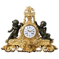 Wonderful Mid-19th Century Napoleon III Bronze Mantle Clock by Henri Picard