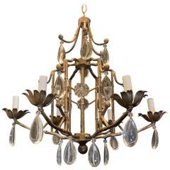 Wonderful Mid-Century Modern Bagues Gilt Bamboo Crystal Drop Chandelier Fixture