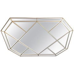 Wonderful Mid-Century Modern Brass and Beveled Panel Mirror Karl Springer