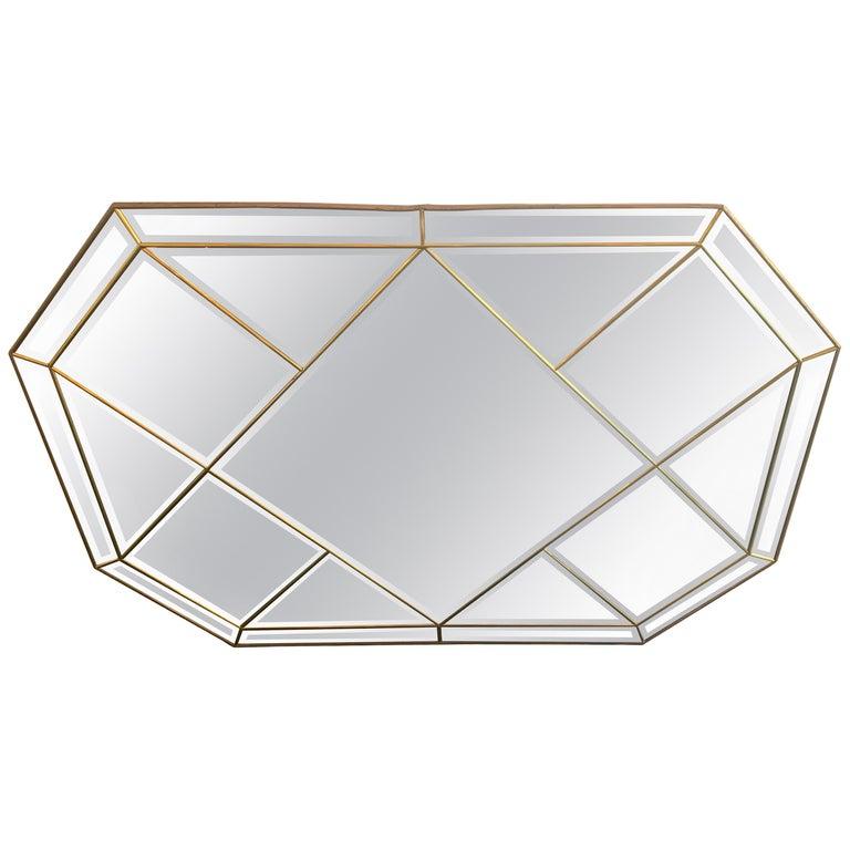 Wonderful Mid-Century Modern Brass and Beveled Panel Mirror Karl Springer For Sale