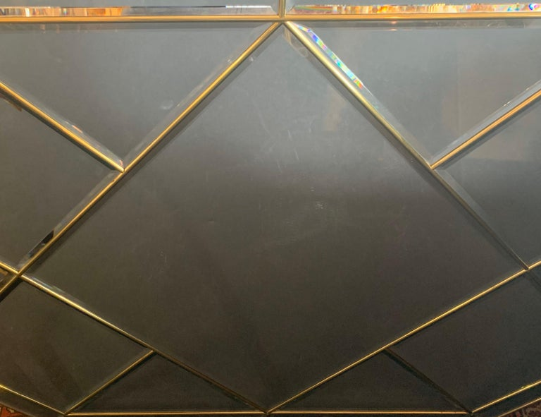 Wonderful Mid-Century Modern Brass and Beveled Panel Mirror Karl Springer In Good Condition For Sale In Roslyn, NY