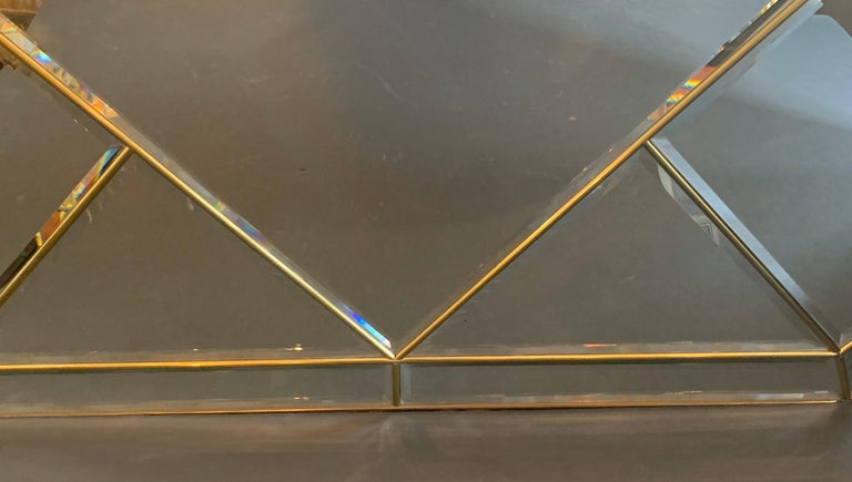Wonderful Mid-Century Modern Brass and Beveled Panel Mirror Karl Springer For Sale 1