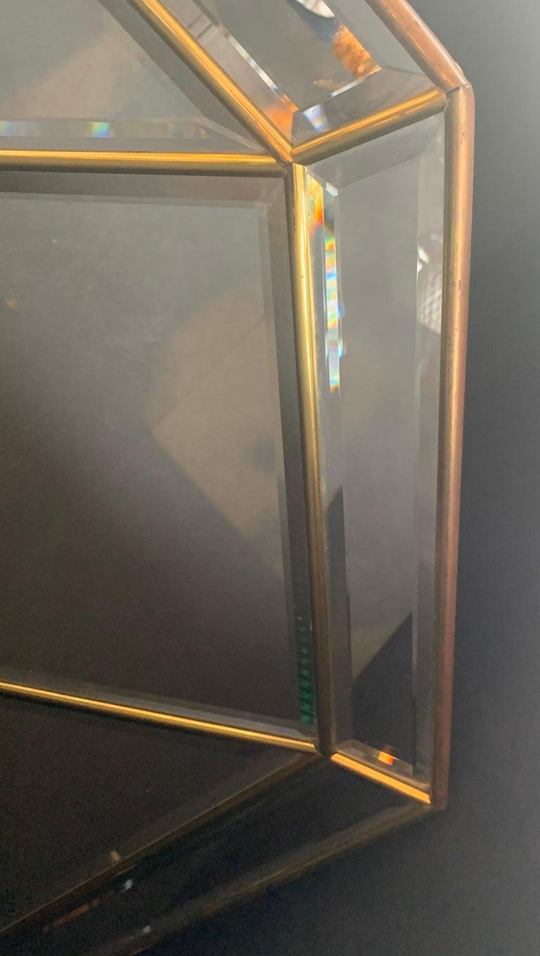 Wonderful Mid-Century Modern Brass and Beveled Panel Mirror Karl Springer For Sale 2