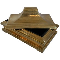 Wonderful Mid-Century Modern Brass Bronze Pagoda Box Lid Chapman