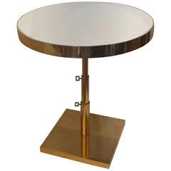 Wonderful Mid-Century Modern Bronze Beveled Mirror Telescoping Round Side Table