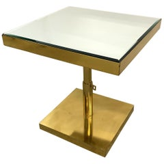 Wonderful Mid-Century Modern Bronze Beveled Mirror Telescoping Square Side Table