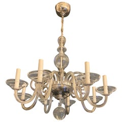 Wonderful Mid-Century Modern Crystal Glass Polished Nickel Fixture Chandelier