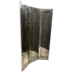 Wonderful Mid-Century Modern Deco 3-Panel Beveled Mirrored Screen Room Divider
