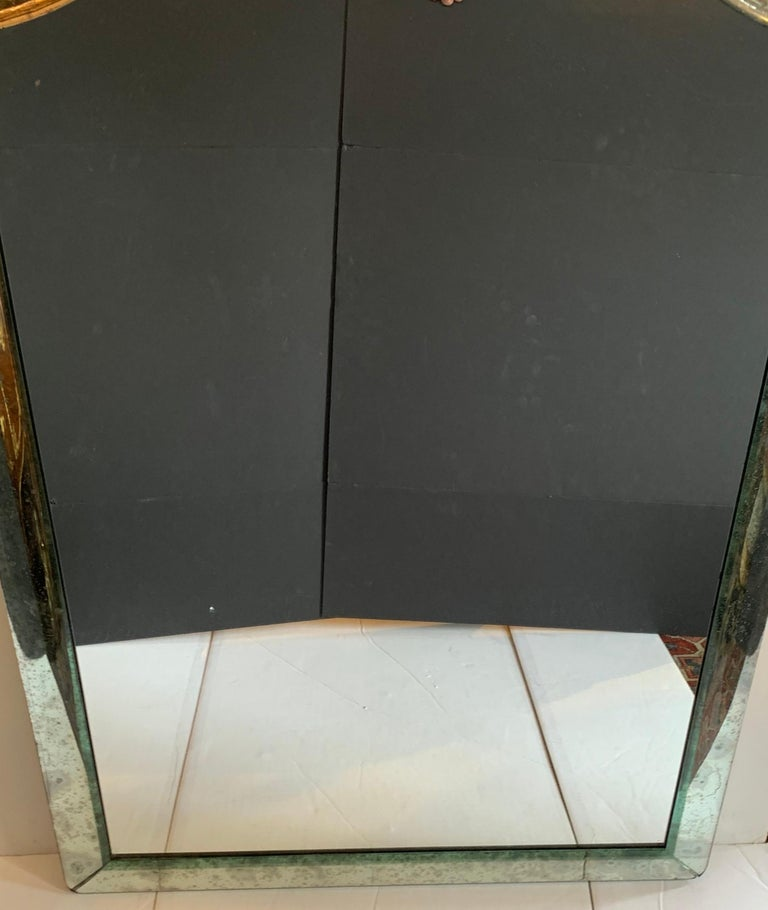 Mid-Century Modern Distressed Venetian Oxidized Pitted Curved Panel Mirror In Good Condition For Sale In Roslyn, NY