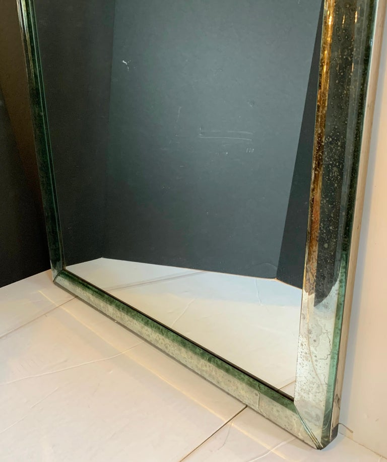 Mid-Century Modern Distressed Venetian Oxidized Pitted Curved Panel Mirror For Sale 1