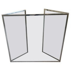 Wonderful Mid-Century Modern Glass Polished Nickel Fireplace 3 Panel Screen