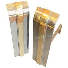 Wonderful Mid-Century Modern Pace Polished Nickel Brass Andirons