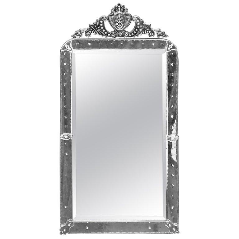 Wonderful Mid-Century Modern Large-Scale Octagonal Venetian Italian Mirror For Sale