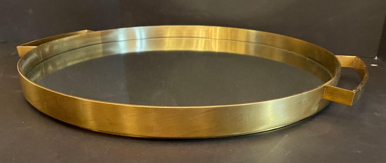 Wonderful Mid-Century Modern Lorin Marsh French Bronze Mirror Round Serving Tray In Good Condition For Sale In Roslyn, NY