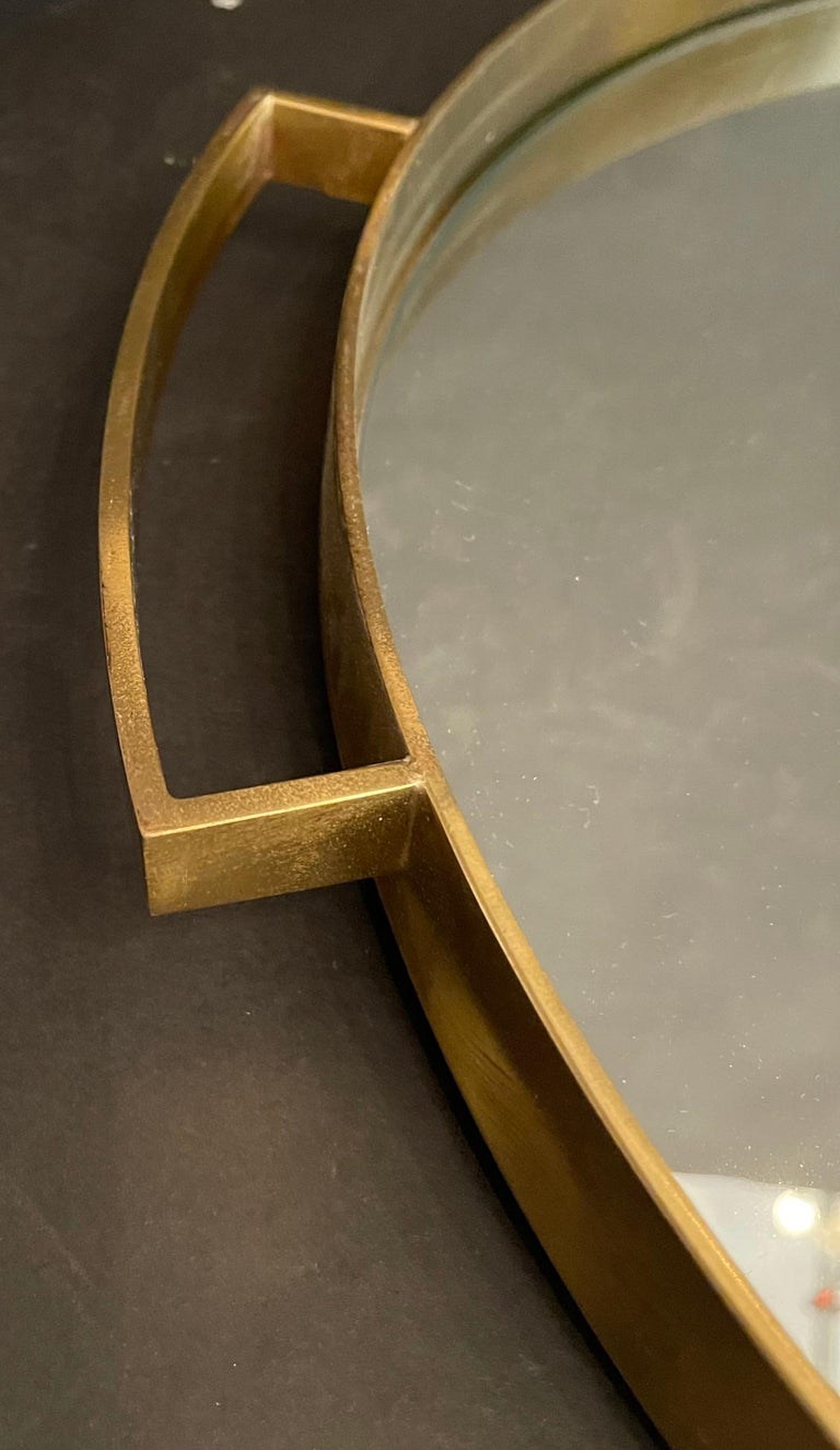 Wonderful Mid-Century Modern Lorin Marsh French Bronze Mirror Round Serving Tray For Sale 1
