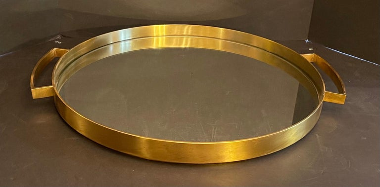 Wonderful Mid-Century Modern Lorin Marsh French Bronze Mirror Round Serving Tray For Sale 2