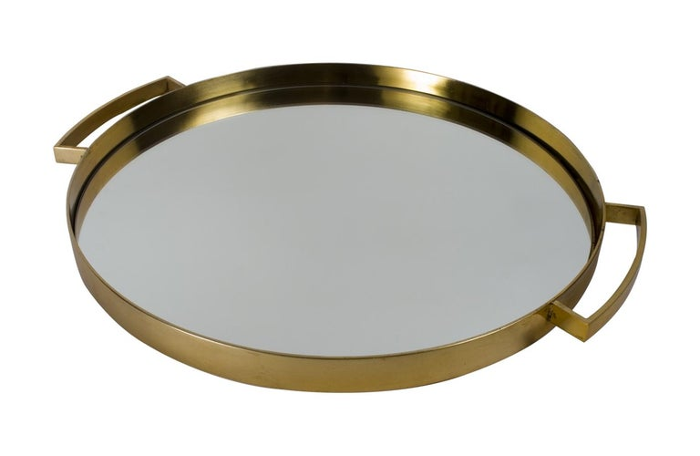 Wonderful Mid-Century Modern Lorin Marsh French Bronze Mirror Round Serving Tray For Sale 3