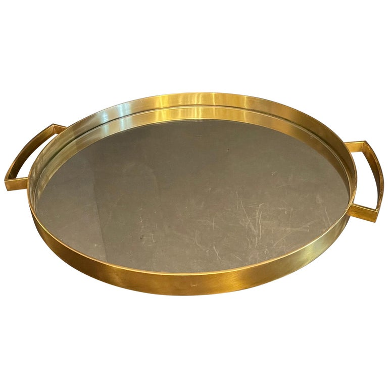 Wonderful Mid-Century Modern Lorin Marsh French Bronze Mirror Round Serving Tray For Sale