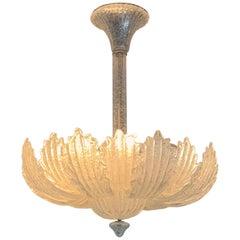 Wonderful Mid-Century Modern Murano Venetian Glass Leaf Bowl Form Light Fixture