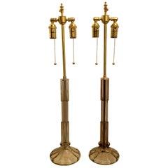 Wonderful Mid-Century Modern Pair Italian Murano Smoke Glass Brass Deco Lamps