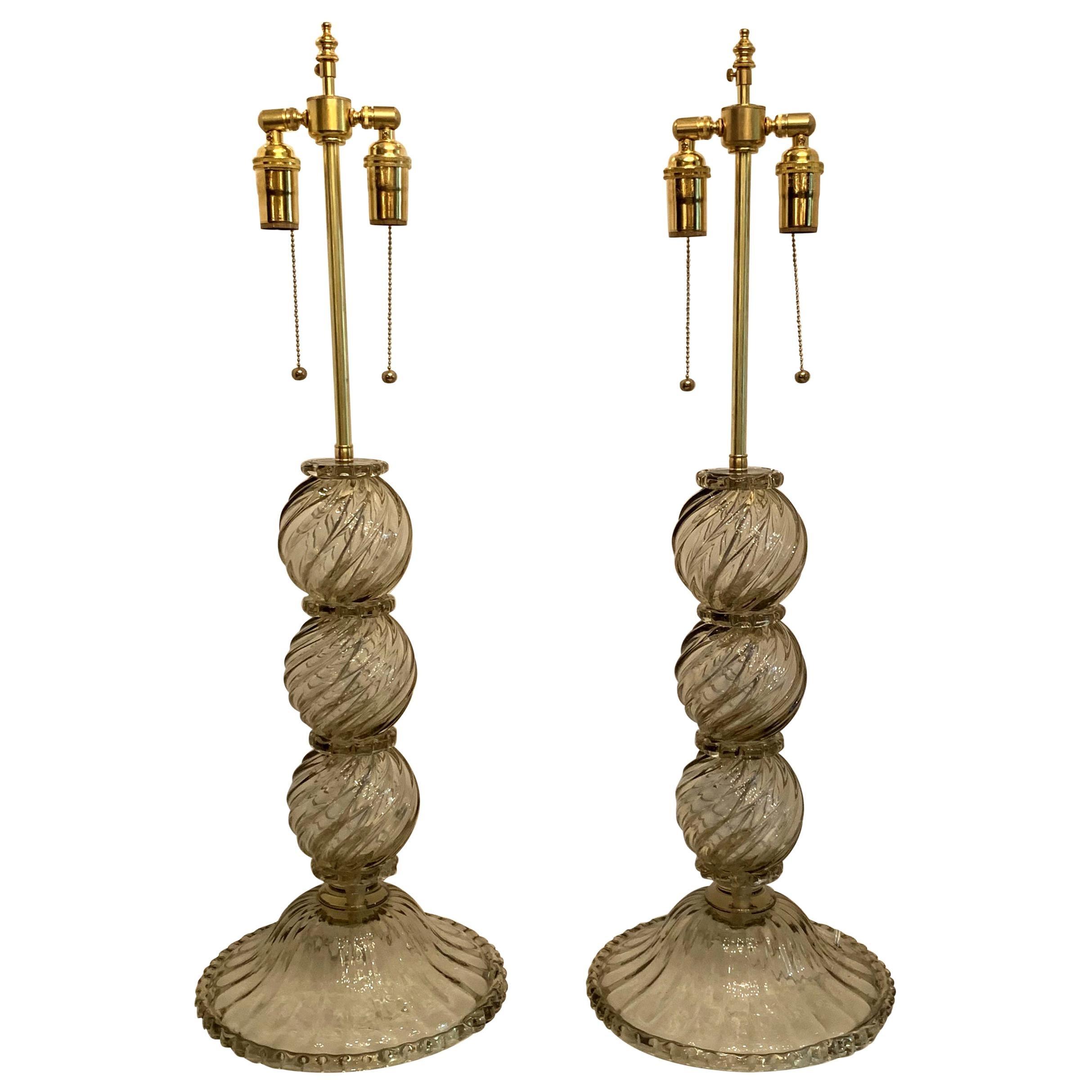Wonderful Mid-Century Modern Pair Italian Venetian Swirl Murano Glass Deco Lamps