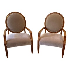 Wonderful Mid-Century Modern Pair of Macassar Wood Mohair Upholstery Armchairs