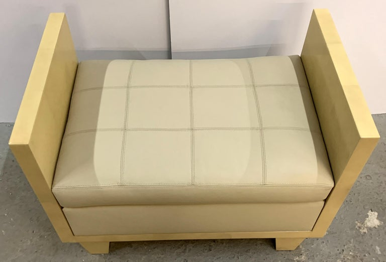 Wonderful Mid-Century Modern Pair of Natural Goat Skin Leather Benches/Stools In Good Condition For Sale In Roslyn, NY