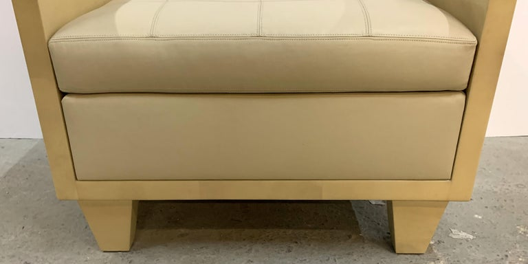 20th Century Wonderful Mid-Century Modern Pair of Natural Goat Skin Leather Benches/Stools For Sale