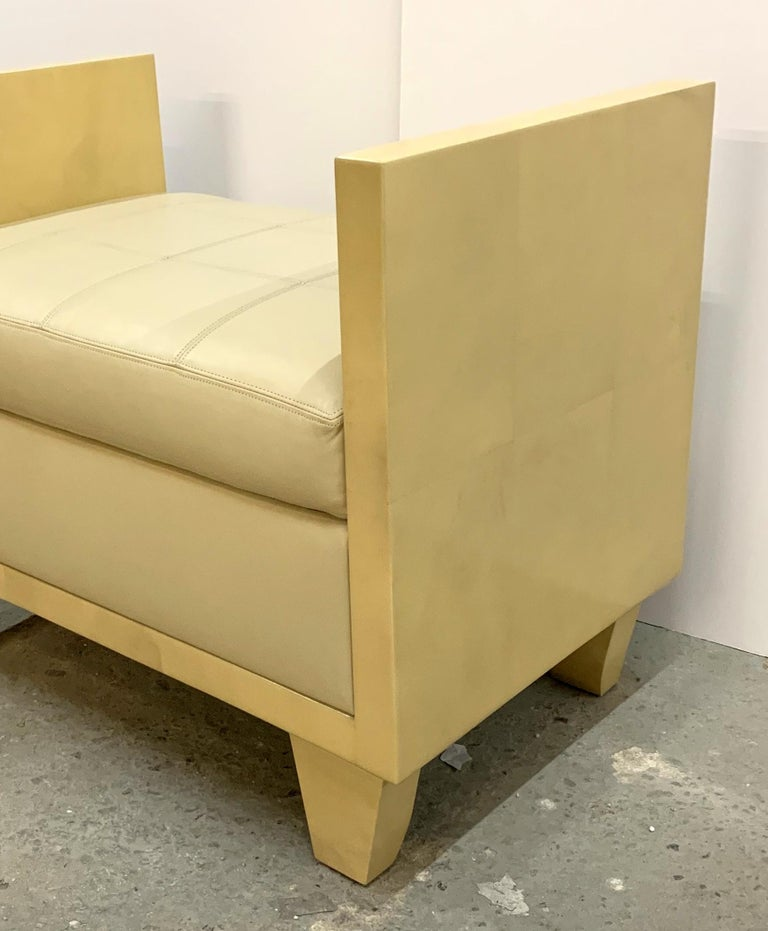 Goatskin Wonderful Mid-Century Modern Pair of Natural Goat Skin Leather Benches/Stools For Sale