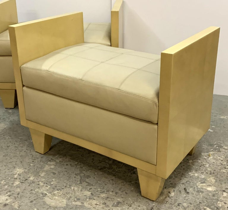 Wonderful Mid-Century Modern Pair of Natural Goat Skin Leather Benches/Stools For Sale 2