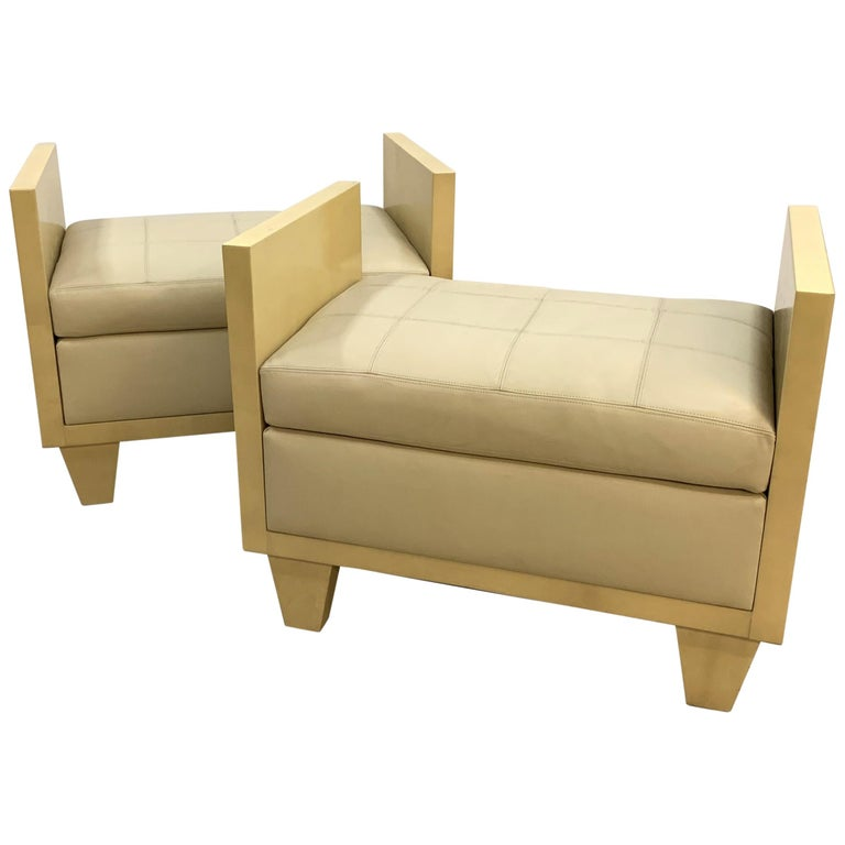 Wonderful Mid-Century Modern Pair of Natural Goat Skin Leather Benches/Stools For Sale