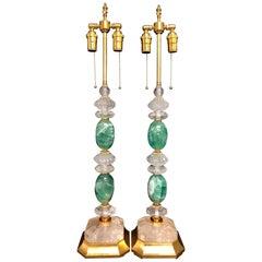 Wonderful Mid-Century Modern Pair of Rock Green Quartz Crystal Gold Gilt Lamps
