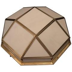 Wonderful Mid-Century Modern Polished Brass White Slag Glass Flush Mount Fixture