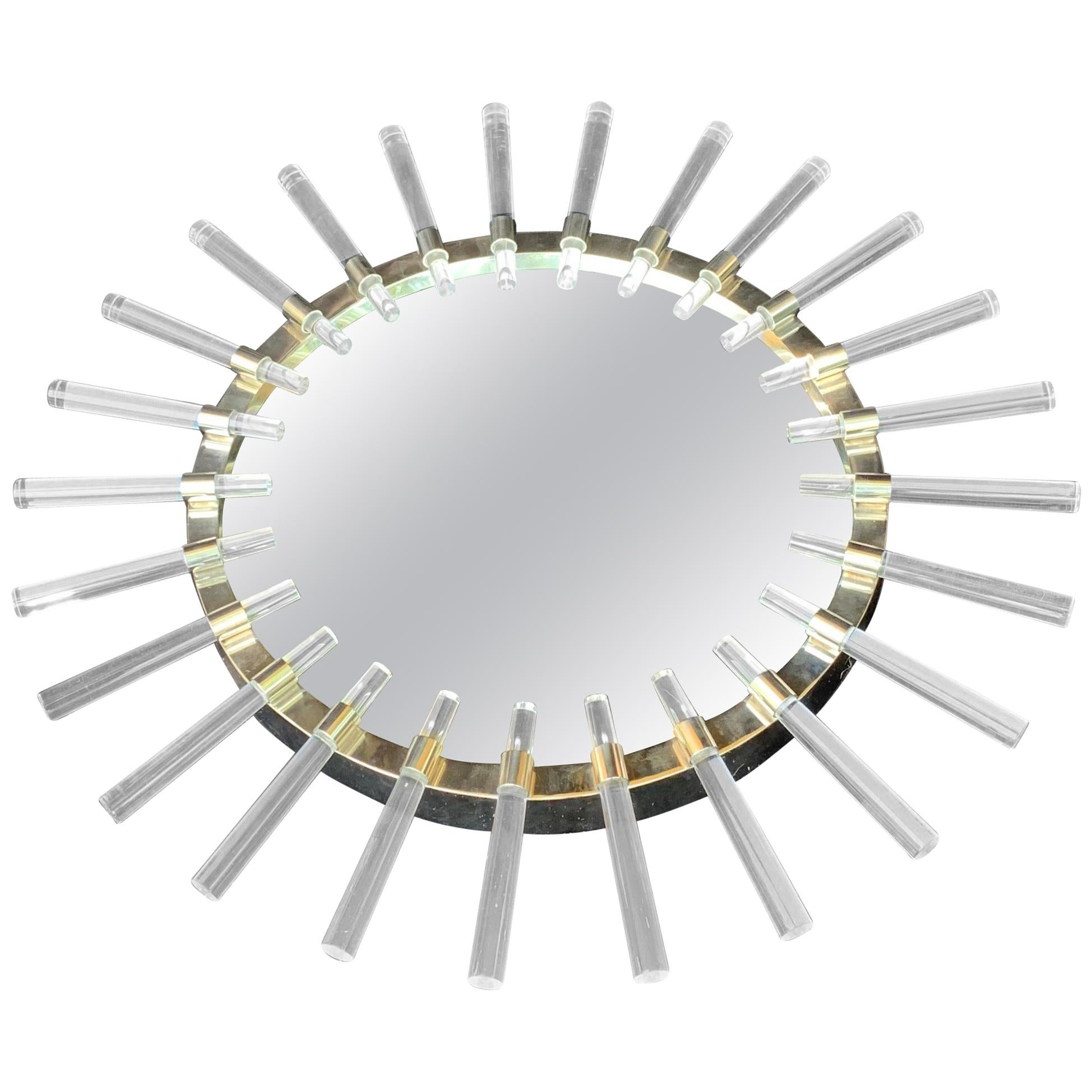 Wonderful Mid-Century Modern Round Sputnik Lucite Rod Polished Nickel Mirror