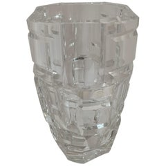 Wonderful Mid-Century Modern Val Saint Lambert Heavy Cut Crystal Chunky Vase