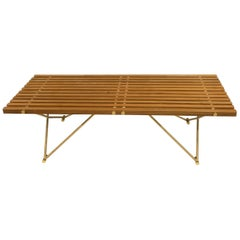 Wonderful Mid-Century Modern Wood Slat Polished Brass Coffee Cocktail Table