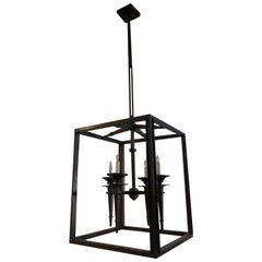 Wonderful Midcentury Sleek Modern Deco Set Three Large Iron Bronze Lanterns