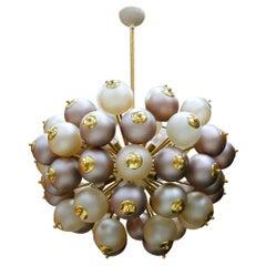 Wonderful Midcentury Sputnik Brass and Glass Shades Italian Chandelier