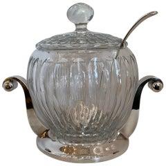 Wonderful Midcentury German Art Deco Crystal Silver Plated Centerpiece Tureen