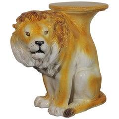 Wonderful Midcentury Italian Lion Drinks Table or Garden Stool