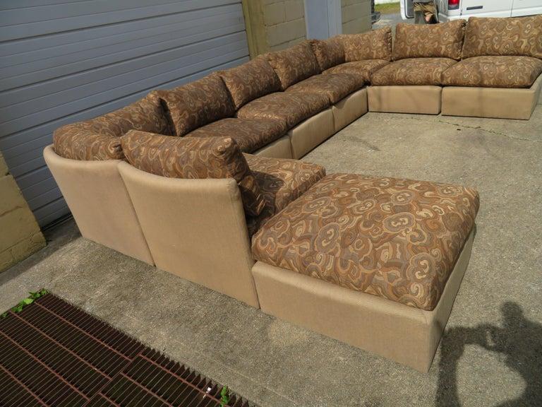 Wonderful Milo Baughman 9 Piece Curved Back Sectional Sofa
