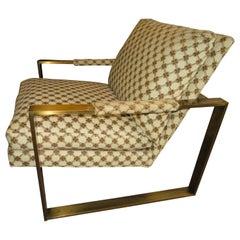 Wonderful Milo Baughman Bronze Flatbar Cube Lounge Chair Midcentury